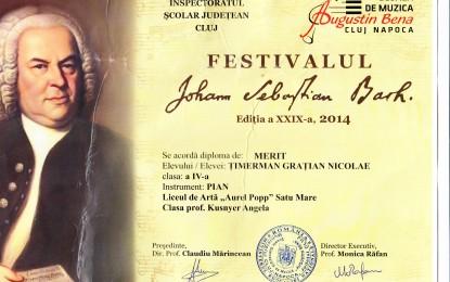 "Diploma de merit la Festivalul ""Johann Sebastian Bach"""