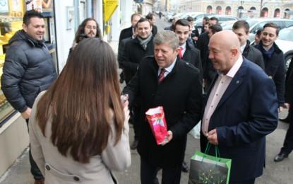 PSD a vestit primăvara cu mărţişoare